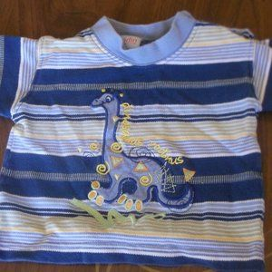 Blue Yellow Striped T-Shirt w Dinosaur Boy 6 month